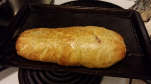 A baked Beef Wellington